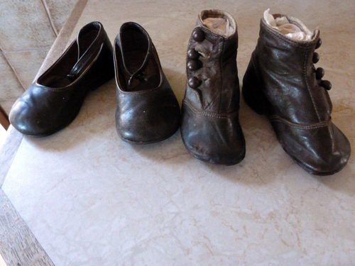 Two Pairs Of Victorian Leather Baby Shoes