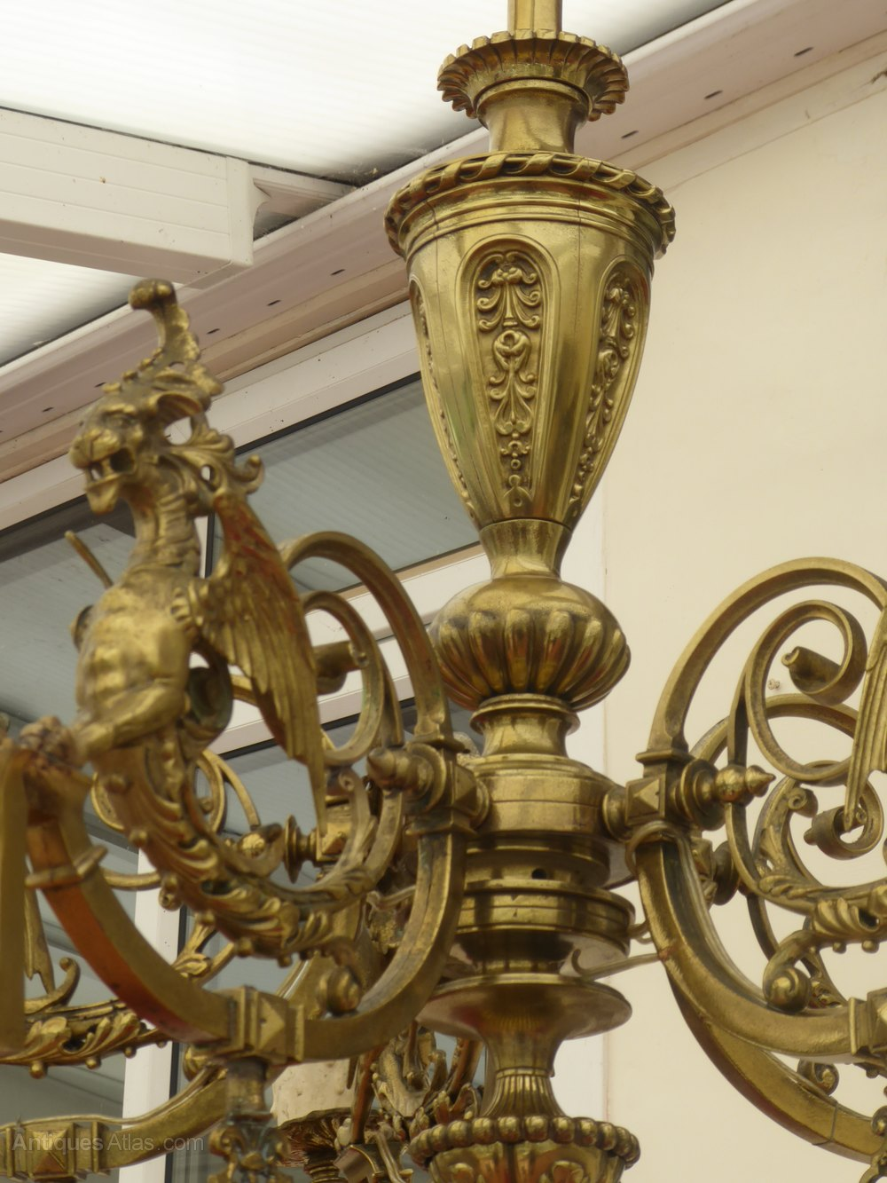 Victorian Ornate Brass Gas Chandelier With Dragons Antique Chandeliers