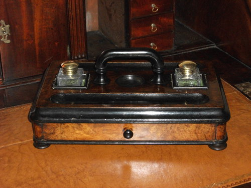 - Antiques Atlas - Burr Walnut And Ebonised Desk Tidy