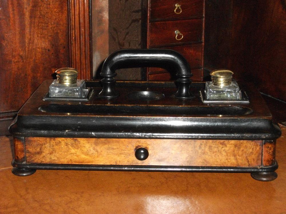 Burr Walnut And Ebonised Desk Tidy Antique Desk Tidy ... - Antiques Atlas - Burr Walnut And Ebonised Desk Tidy
