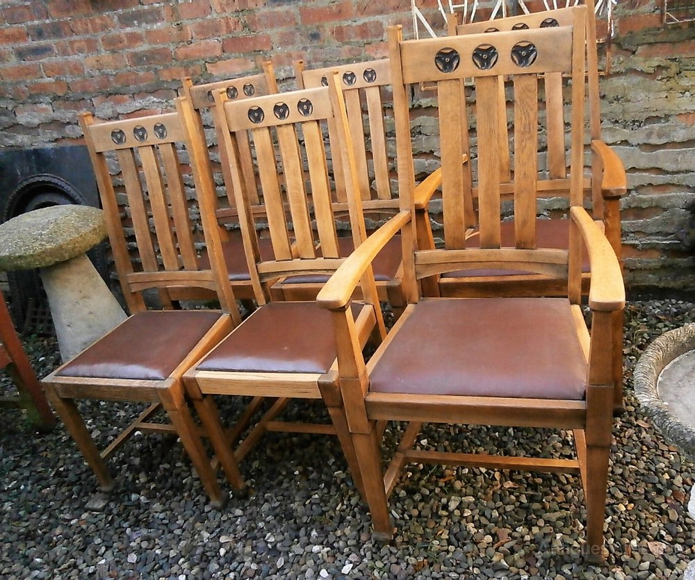 Arts Crafts Oak Dining Chairs