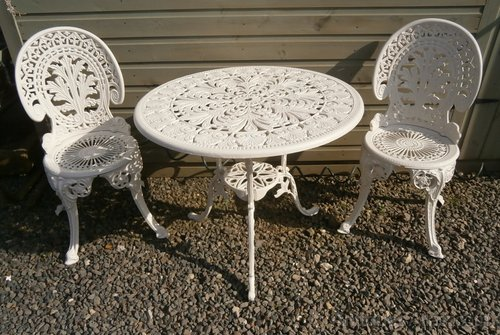 Antiques Atlas - Cast Aluminium Garden Table And 2 Chairs