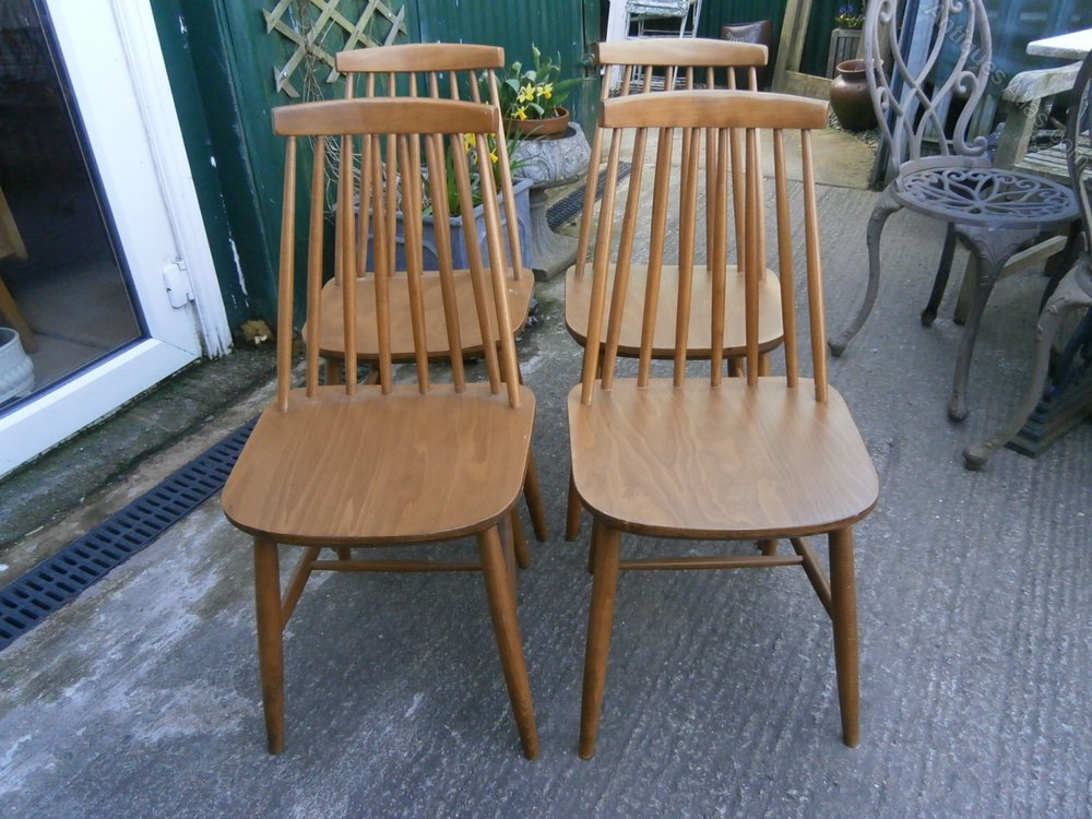Antiques Atlas - Ercol Style Dining Chairs X 4