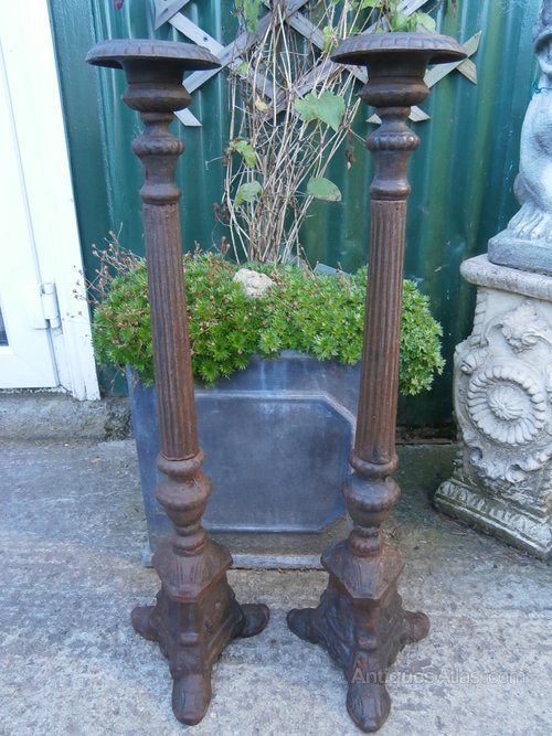 Antiques Atlas - Pair Cast Iron Pricket Candle Sticks