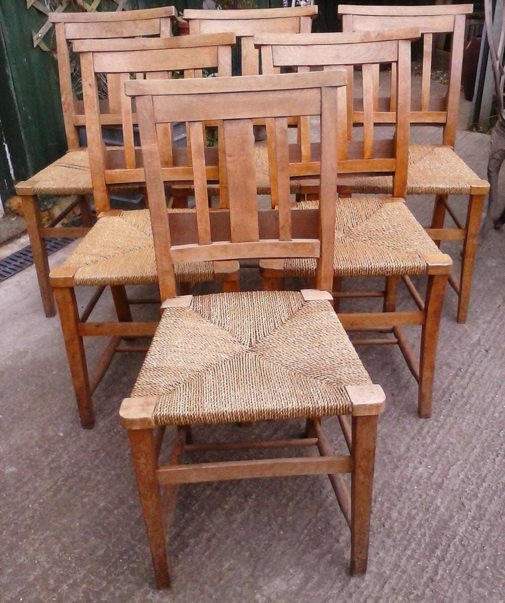 Rush Seat Chapel Chairs X 6 Antiques Atlas