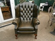 Vintage Green Leather Wingback