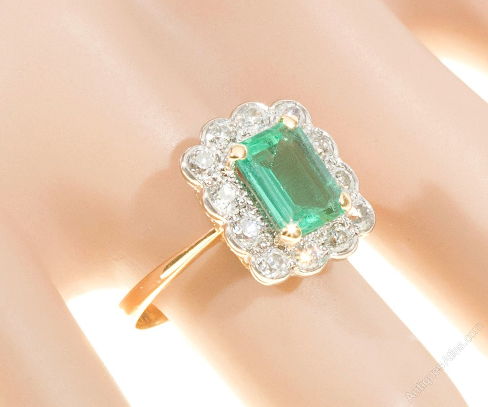 Antiques Atlas Emerald Amp Diamond Ring