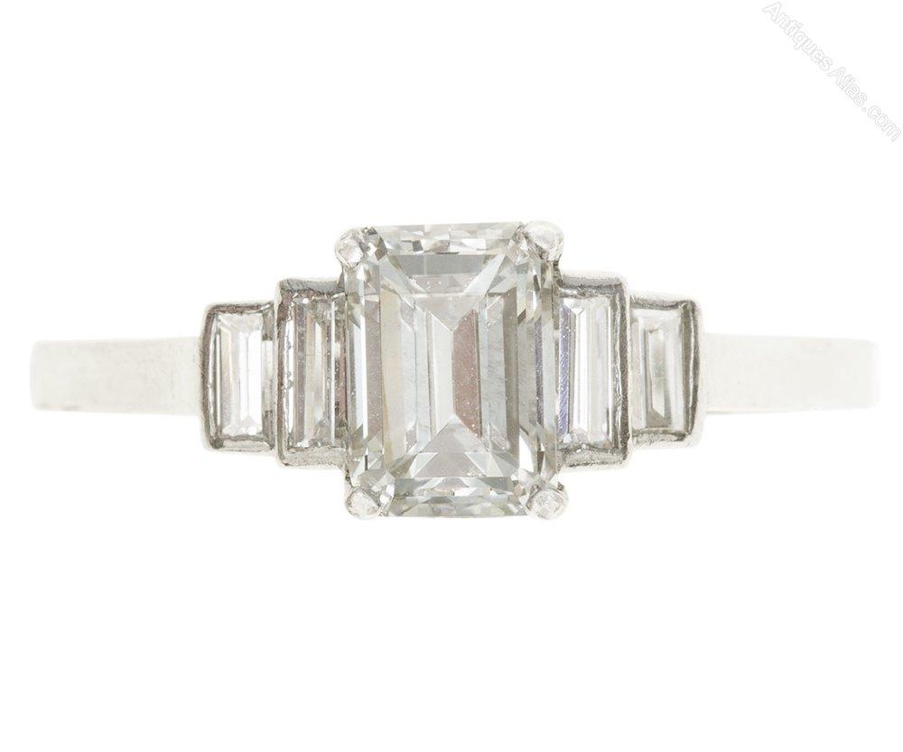 Emrald Cut Diamond Solitaire Ring Circa 1930
