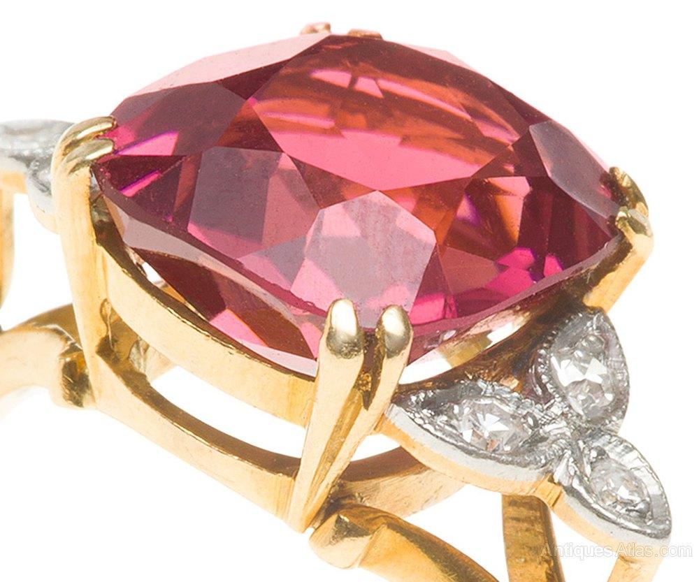 Antiques Atlas - Pink Tourmaline & Diamond Ring C1935