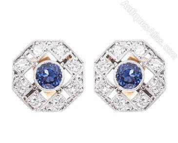 afd8d999a Antiques Atlas - Sapphire & Diamond Stud Earrings C1930