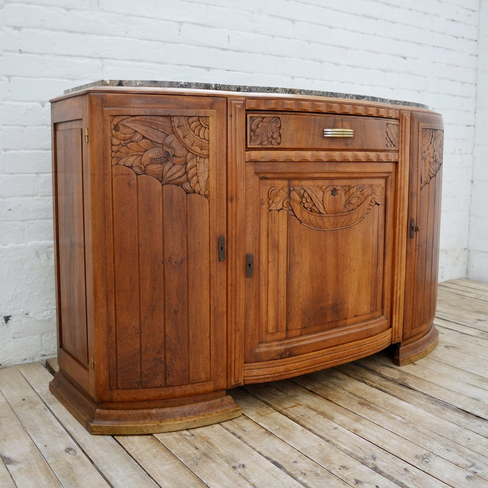 art deco walnut sideboard cupboard with marble antiques atlas. Black Bedroom Furniture Sets. Home Design Ideas