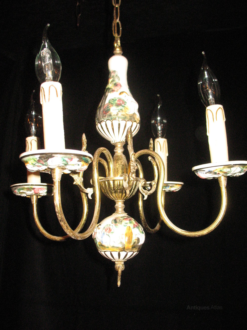 Italian ceramic chandelier musethecollective antiques atlas italian chandelier very pretty ceramic and gilt brass arubaitofo Image collections