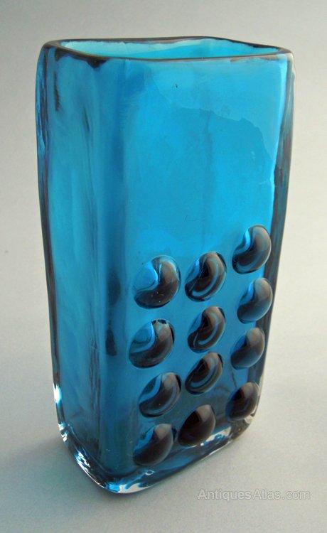 Antiques Atlas Whitefriars Kingfisher Blue Mobile Phone Vase