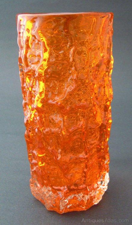 Antiques Atlas Whitefriars Tangerine Medium Bark Glass Vase