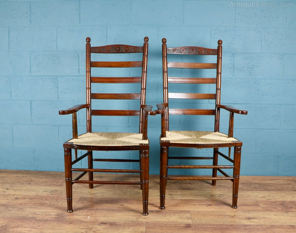 Arts And Crafts Ladder Back Armchairs - Antiques Atlas