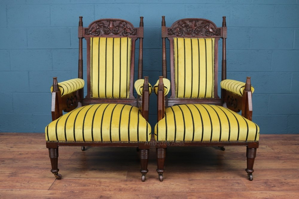 Carved Oak Armchairs, Liberty & Co - Antiques Atlas