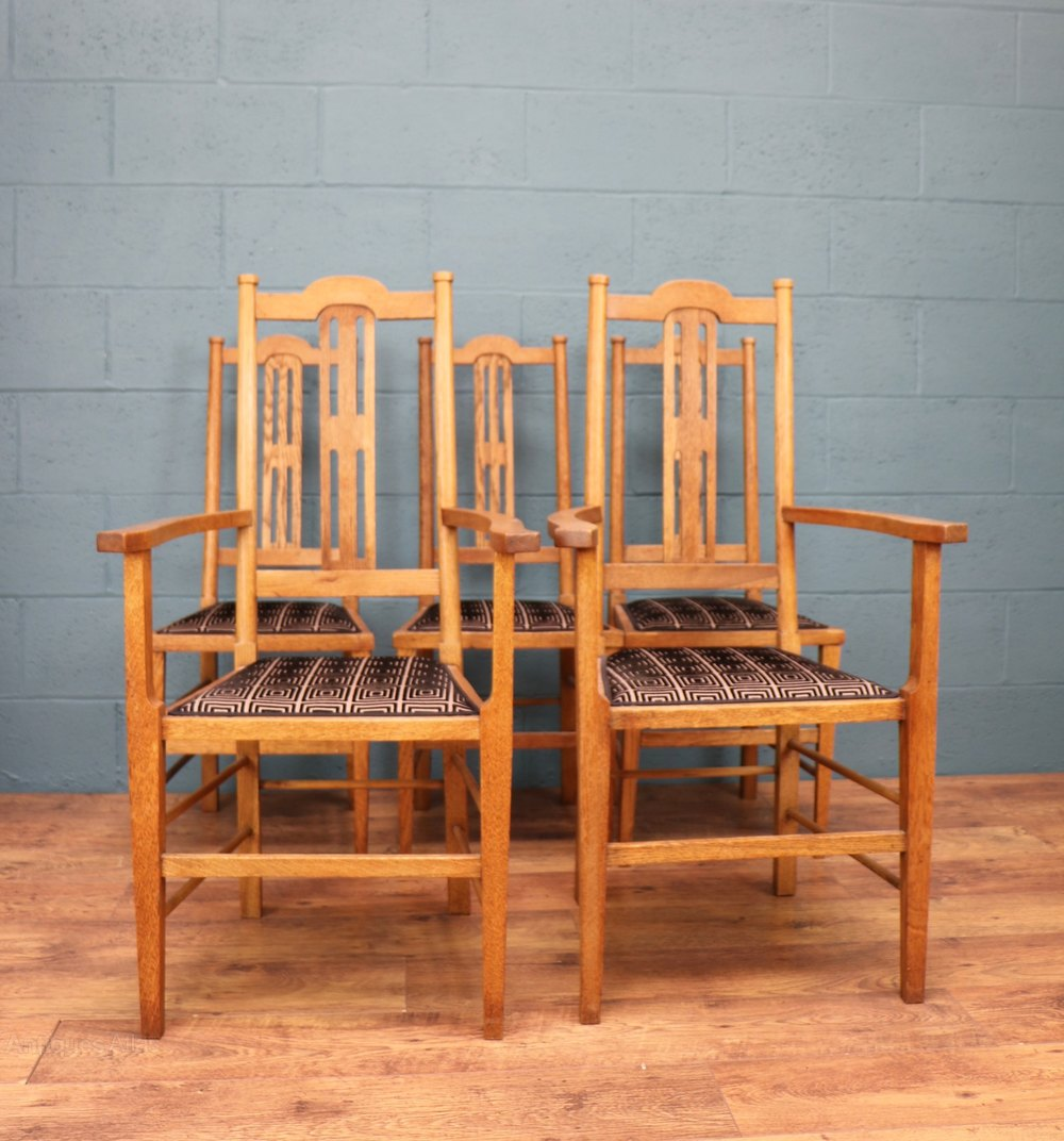 set of 6 arts and crafts dining chairs antiques atlas. Black Bedroom Furniture Sets. Home Design Ideas