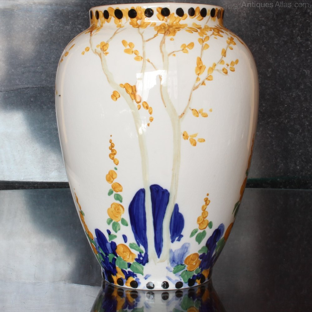 Antiques atlas hand painted spencer edge pottery vase 1920s hand painted spencer edge pottery vase 1920s reviewsmspy