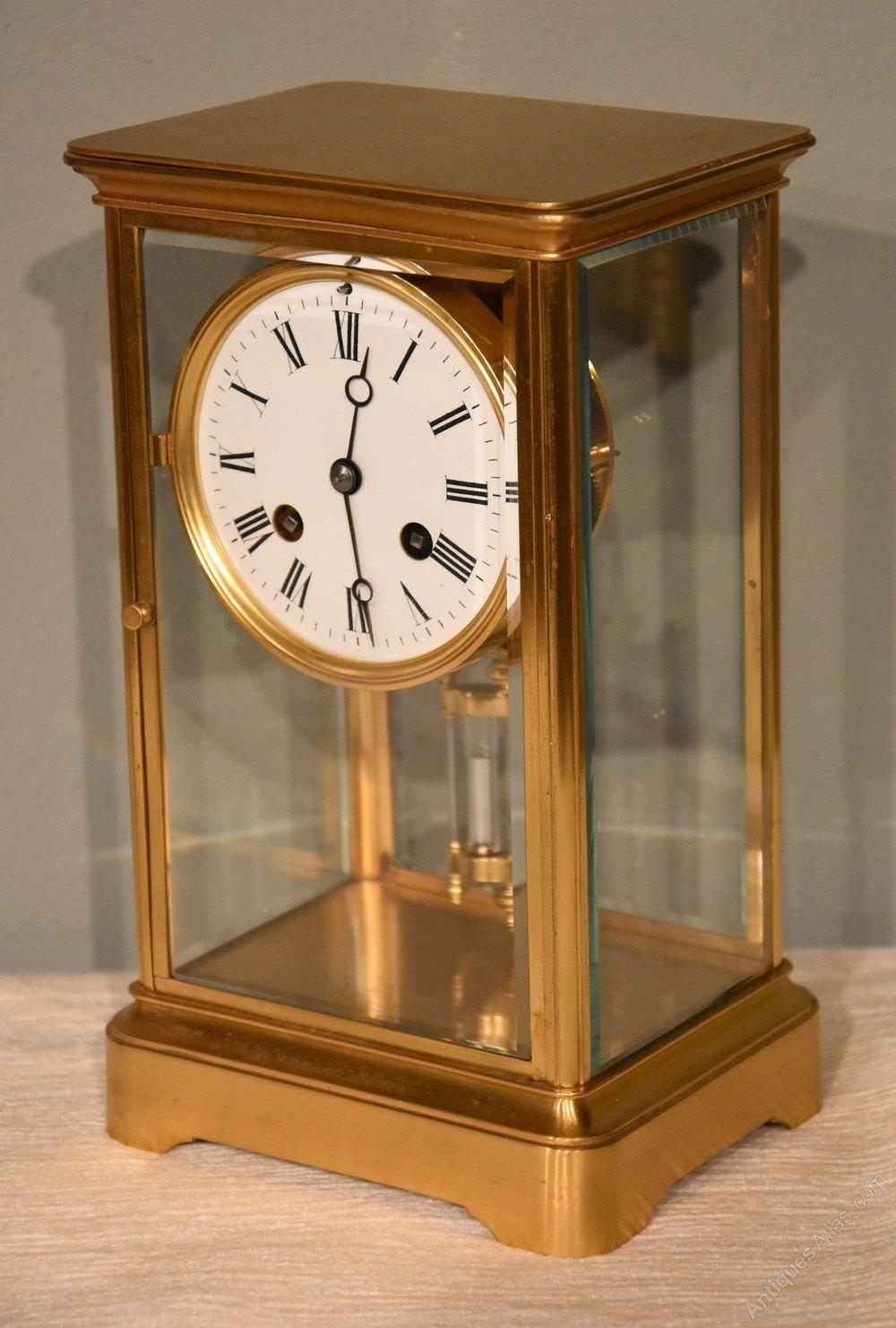 Antique glass mantel clocks