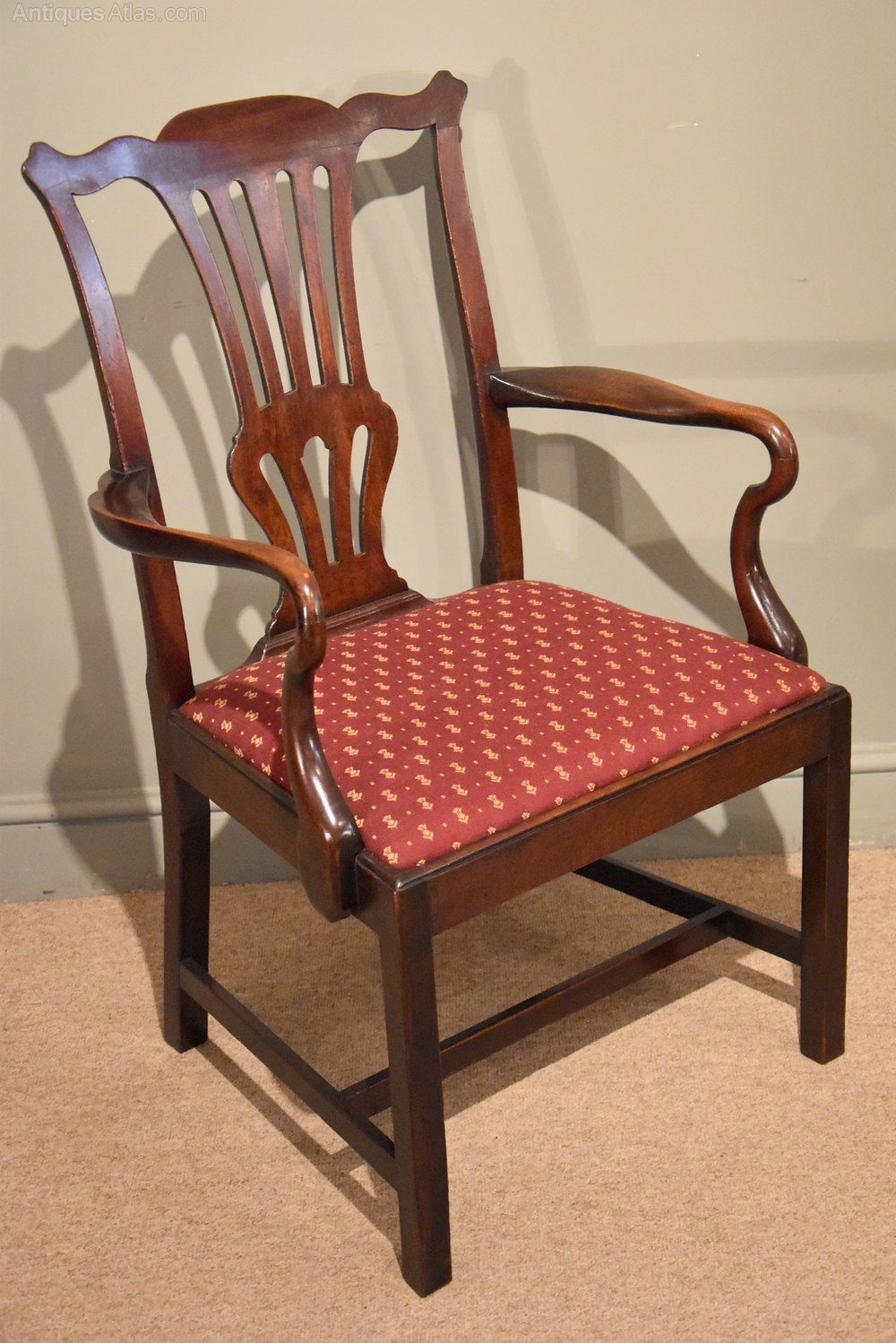 Large and handsome chippendale period mahogany arm chair