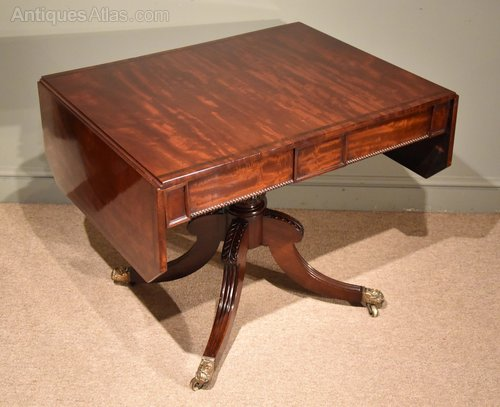Regency mahogany sofa table on central pedestal antiques for Sofa central table