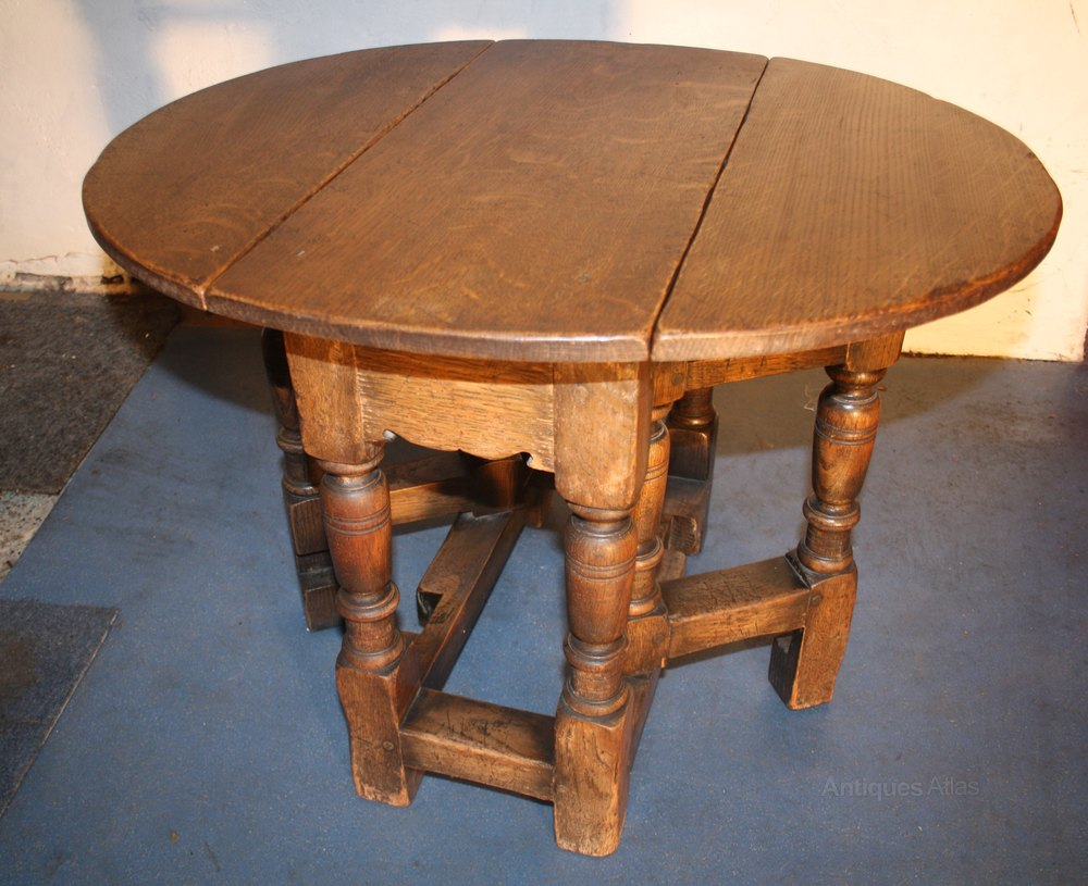 Oak Small Jacobean 1920s Drop Leaf Coffee Table Antique Tables