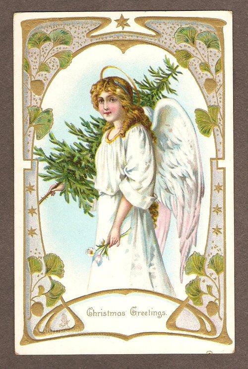 Antiques Atlas - Art Nouveau Christmas Post Card Circa 1895