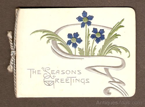 Antiques Atlas - Art Nouveau Christmas Card Circa 1895