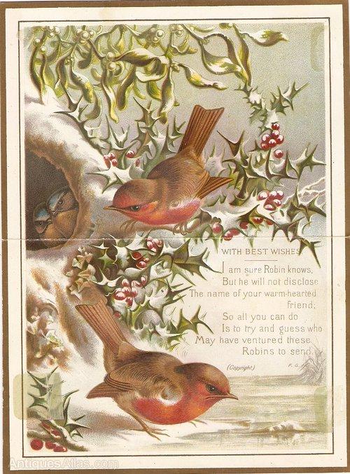 antiques atlas  victorian christmas card circa 1880's