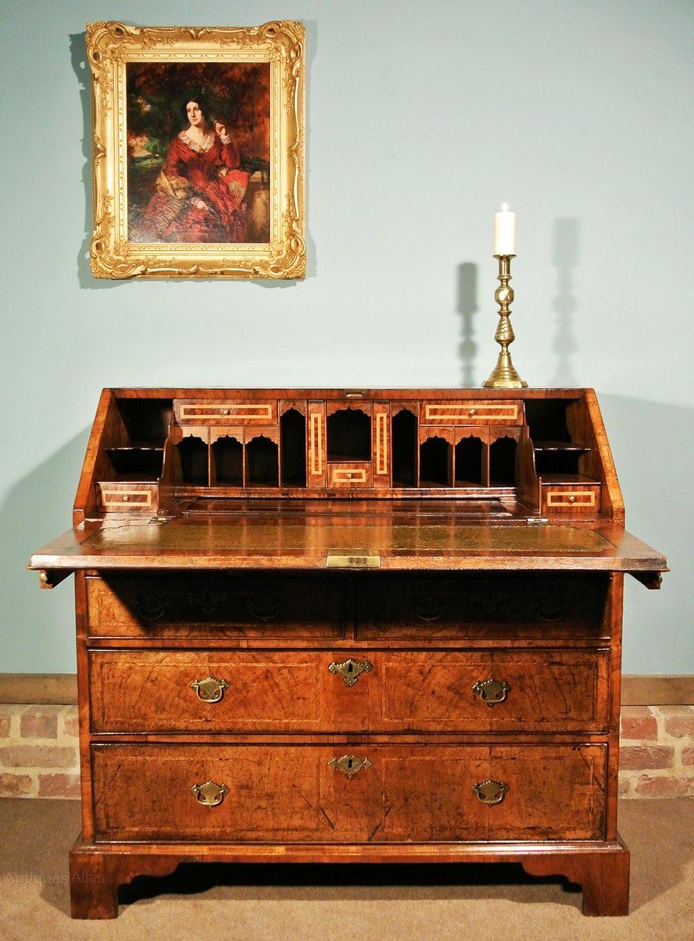 Excellent Exceptional George Ii Walnut Bureau C 1740 Antiques Atlas Download Free Architecture Designs Grimeyleaguecom