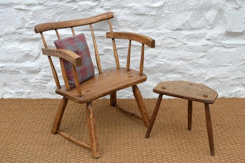 19thC Primitive Welsh Ash Stick Chair   Windsor ...