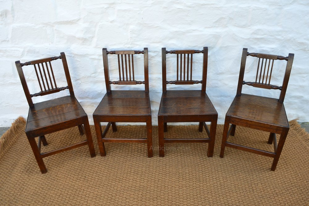 Set Of 18thc Welsh Oak Farmhouse Dining Chairs Antiques