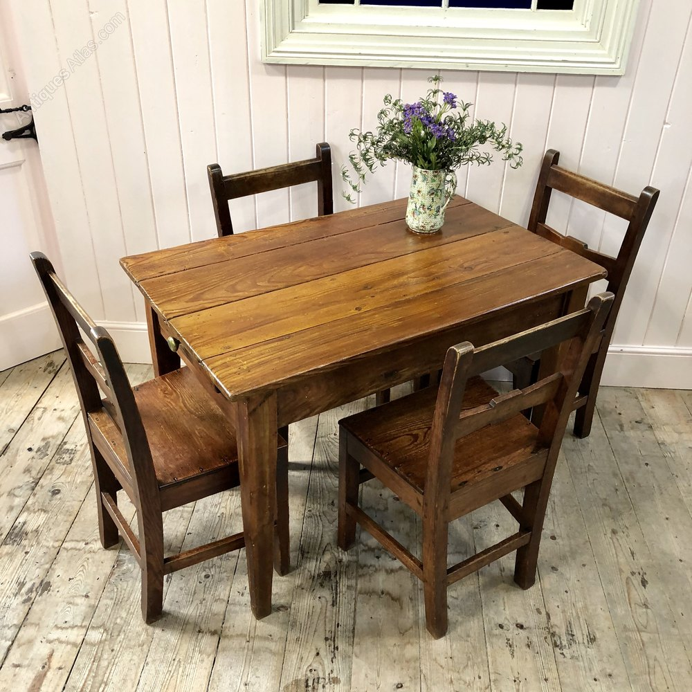 small 19thc welsh pine farmhouse kitchen table - antiques