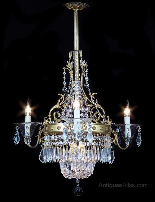 Antiques Atlas A Crystal And Brass Four Light Chandelier