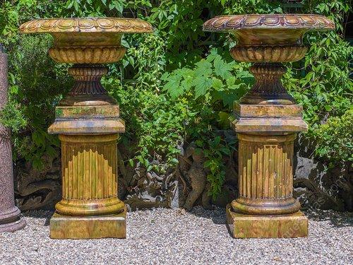A Large Pair Of Glazed Stoneware Garden Urns