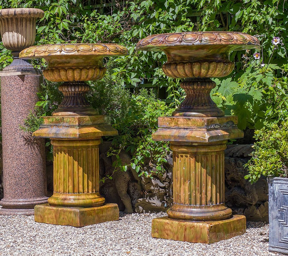 Antiques Atlas - A Large Pair Of Glazed Stoneware Garden Urns