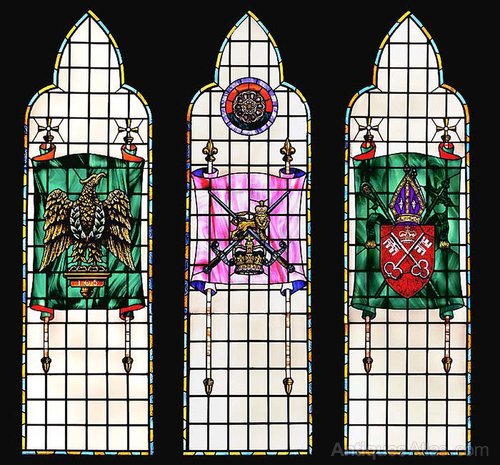A Set Of Three Tall Stained Gl Windows