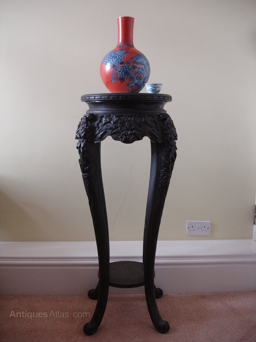 Chinese Ebonised Tall Carved Plant Or Vase Stand Antiques Atlas
