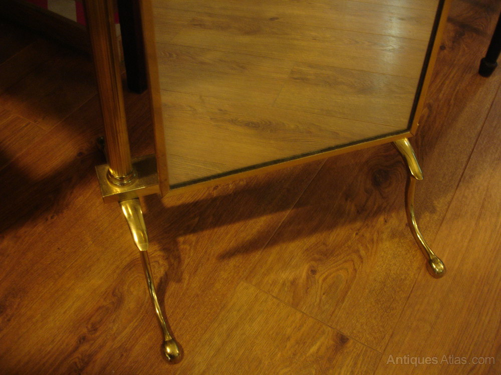 Vintage Brass Cheval Full Length Adjule Mirror And Retro Miscellaneous Furniture Alt5 Alt6
