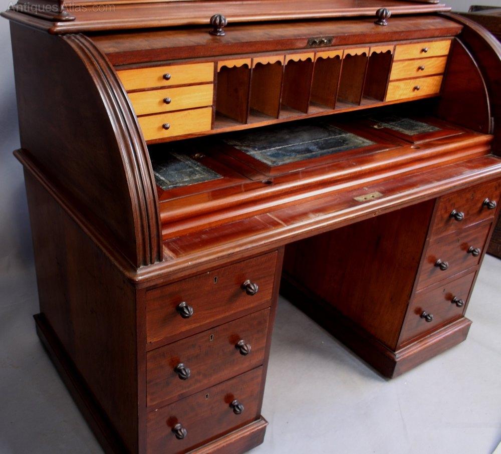 ... Antique Cylinder Pedestal Desks cylinder desk london cabinet maker  mahogany ... - Good Victorian Cylinder Desk By J PRIEST LONDON - Antiques Atlas