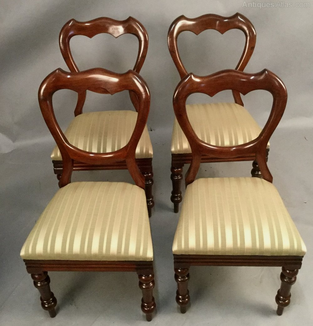 SET OF 4 Victorian MAHOGANY Dining CHAIRS Antiques Atlas