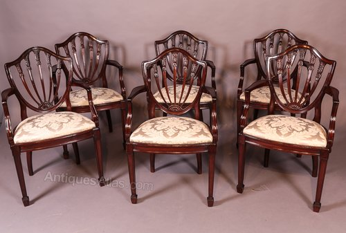 Set Of 6 Mahogany Dining Chairs With Arms Gillow Antiques Atlas