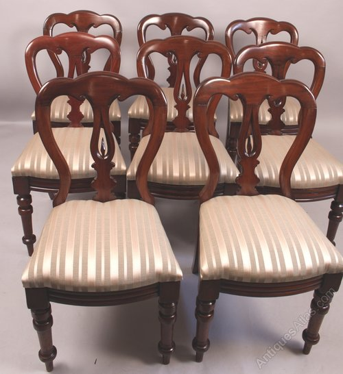 Set Of 8 Victorian Spear Point Balloon Back Chairs