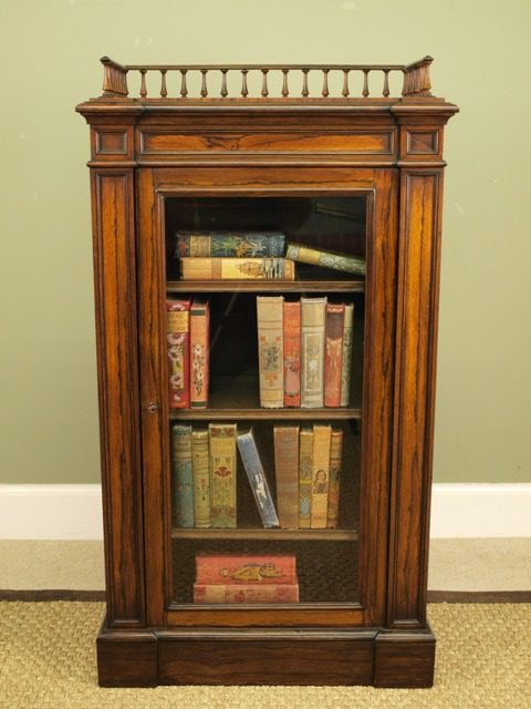 Merveilleux Small William IV Rosewood Bookcase Cabinet Antique ...