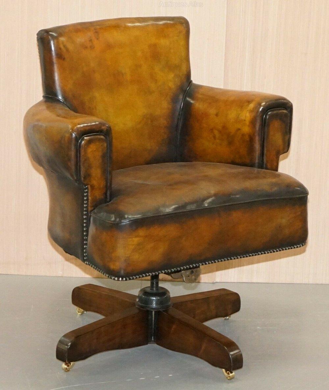 Restored Art Deco Hilcrest Captains Swivel Chair