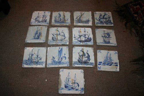 Antiques Atlas 13 X Antique Blue Amp White Delft Tiles