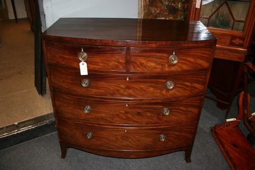 Antique Mahogany Bow Fronted Chest Of Drawers