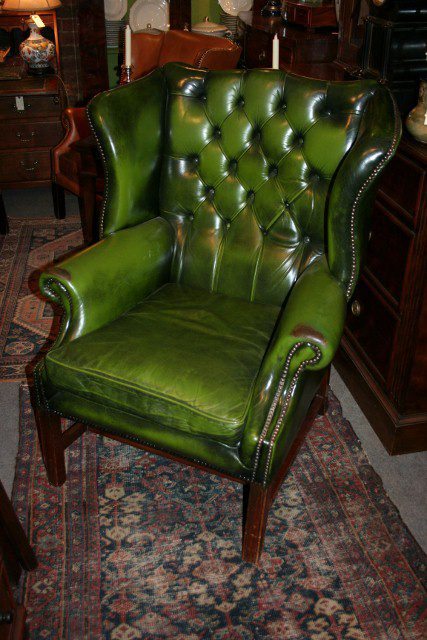 Antiques Atlas Pair Of Green Leather Wing Back Chairs