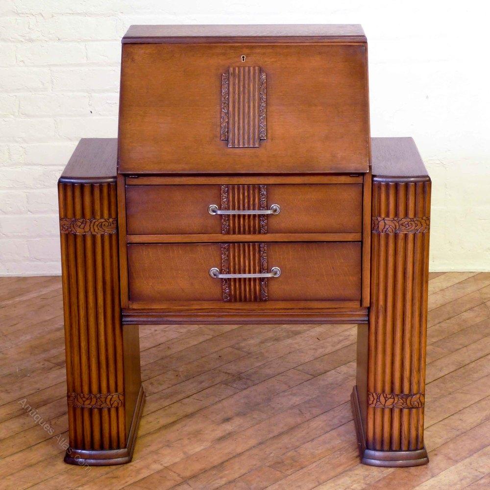 art deco oak bureau antiques atlas. Black Bedroom Furniture Sets. Home Design Ideas