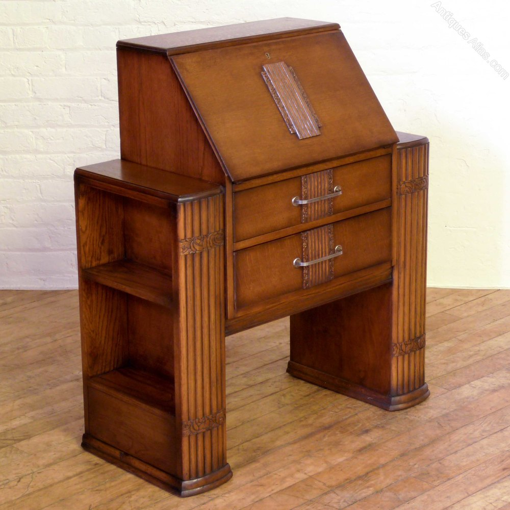 Art Deco Oak Bureau - Antiques Atlas